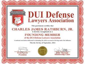 dui defense lawyer association certificate