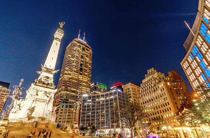 Indianapolis downtown at night